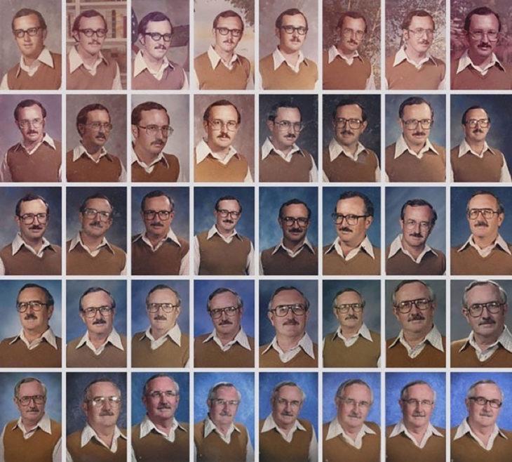 muchas fotos de anuario con la misma ropa