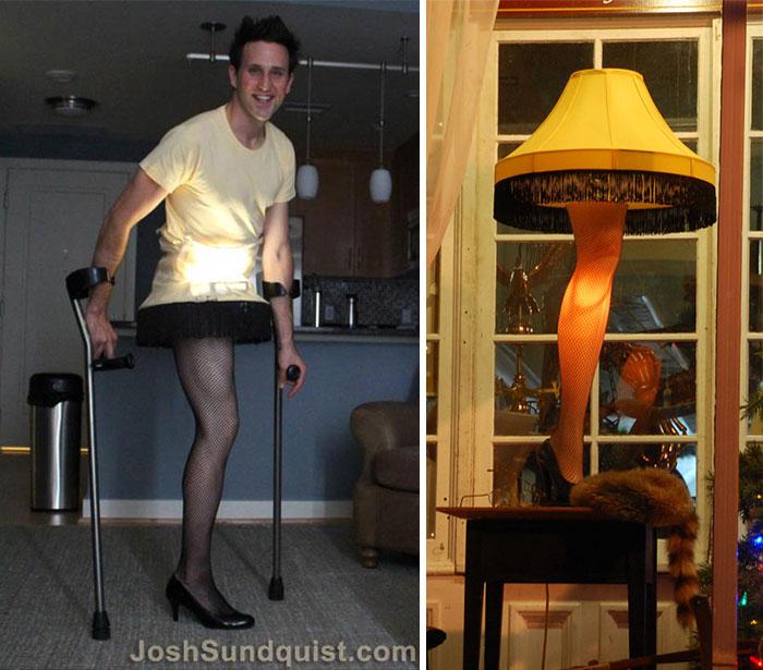 hombre con una pierna disfrazado de lámpara