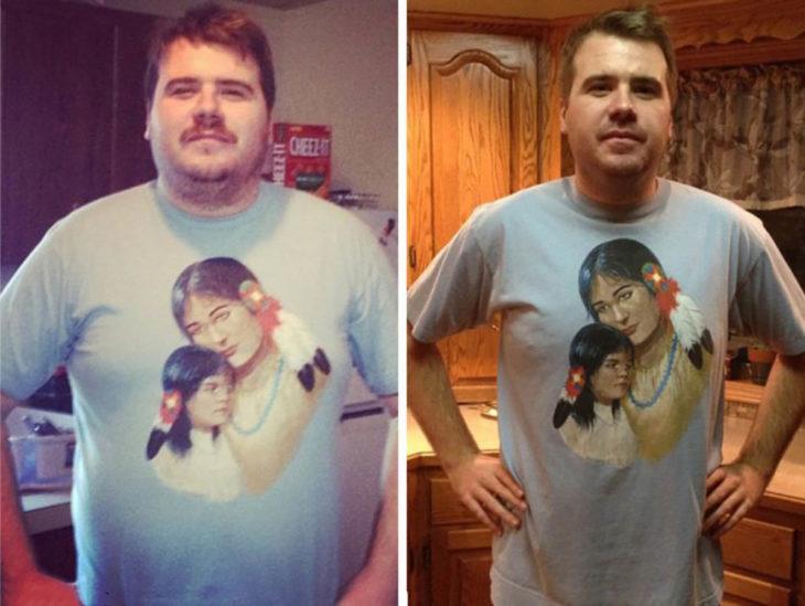 hombre con camisa que tiene imagen de nativoamericanos antes y después de dejar de beber