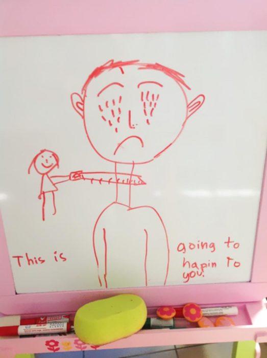 dibujo de una niña cortando la garganta de un hombre