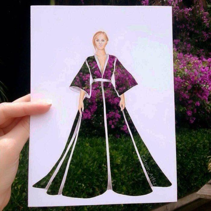 ilustración de moda con vestido recortado