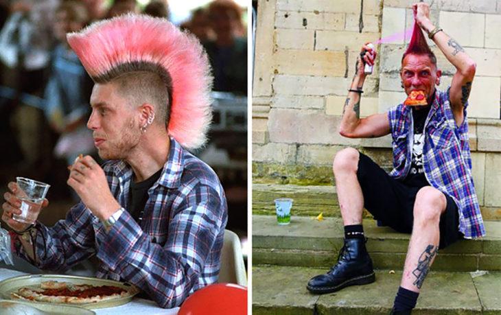 hombre de Mohawk Rosa antes y después