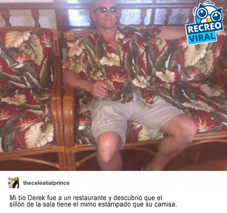 señor con la camisa del mismo estampado que el sillón