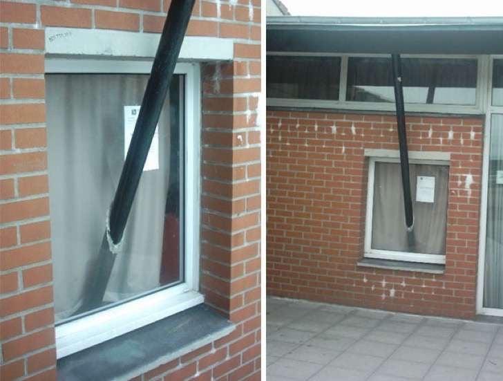ventanas con un tubo atravesado