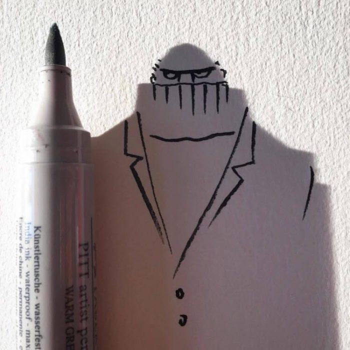 ilustración de persona de la sombra de un marcador