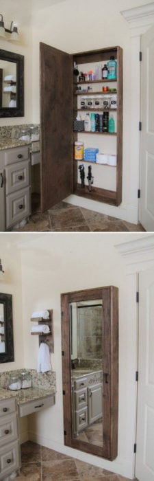 estante secreto tras el espejo