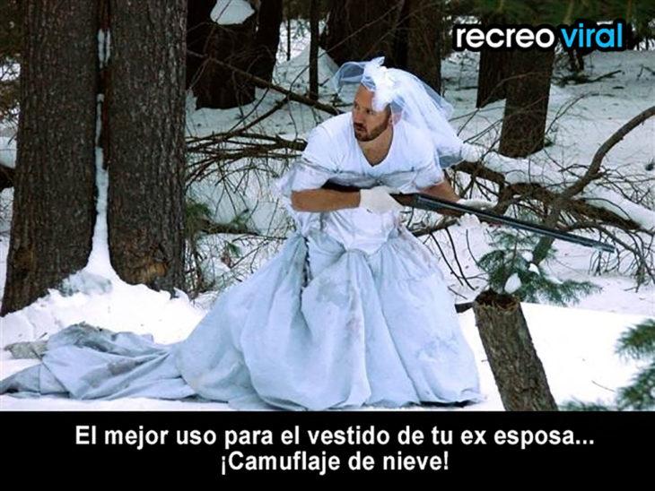 hombre en vestido de novia