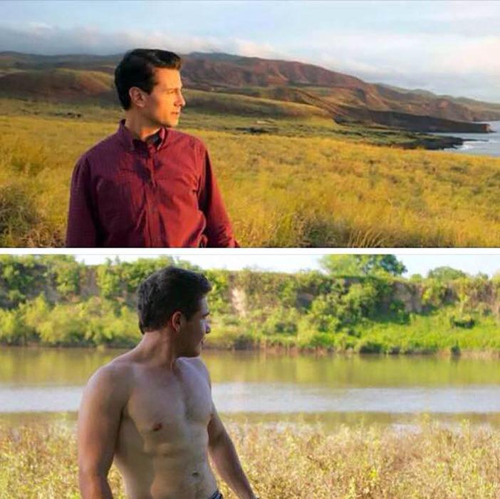 peña viendo al horizonte, debajo un chico sin camisa viendo el horizonte