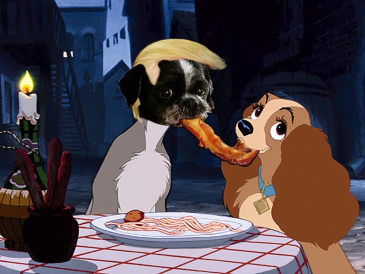 perro photoshop comiendo tocino con peluquin de trump en la dama y el vagabundo