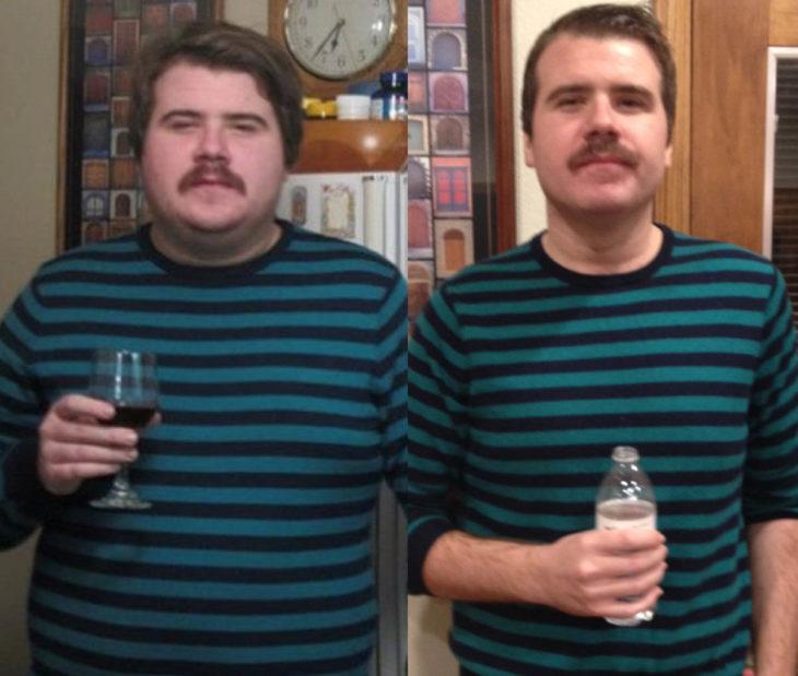 hombre en camisa a rayas antes y después de dejar de beber