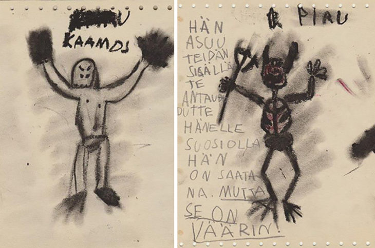 dibujo de satán hecho por un niño