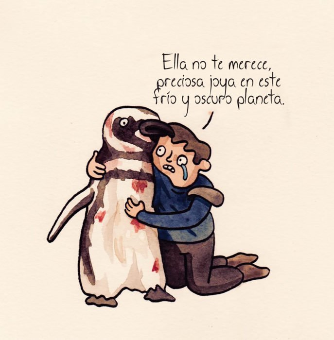 dibujo hombre abrazando a pingüino herido
