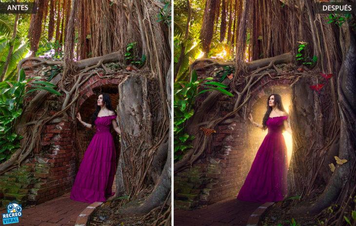 Magia de Photoshop - Mujer saliendo de una cueva