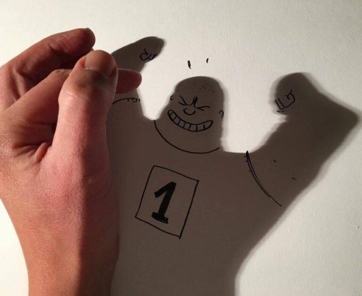 ilustración de fortachón de la sombra de una mano