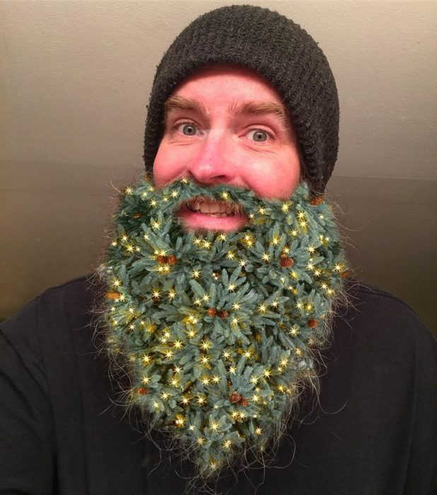 hombre con barba de guirnalda