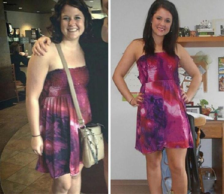 mujer en vestido sin mangas antes y después de dejar de beber