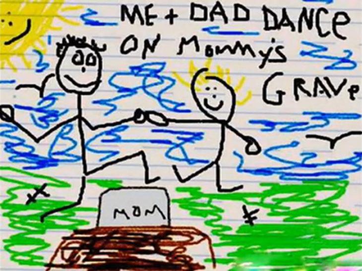 dibujo hecho por infante d eniño y señor bailando sobre una tumba
