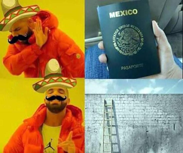 meme de drake y muro