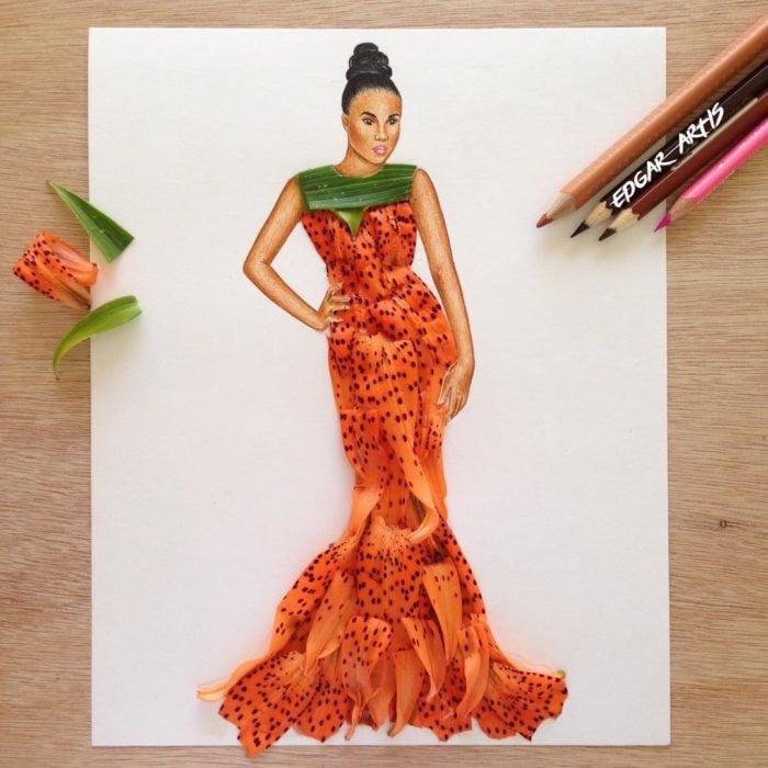 ilustración mujer con vestido hecho con los pétalos de una flor