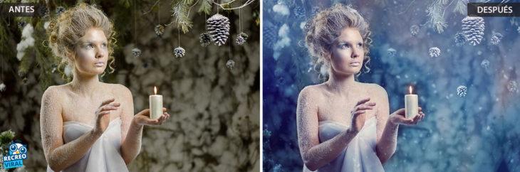 Magia de Photoshop - Chica en la nieve