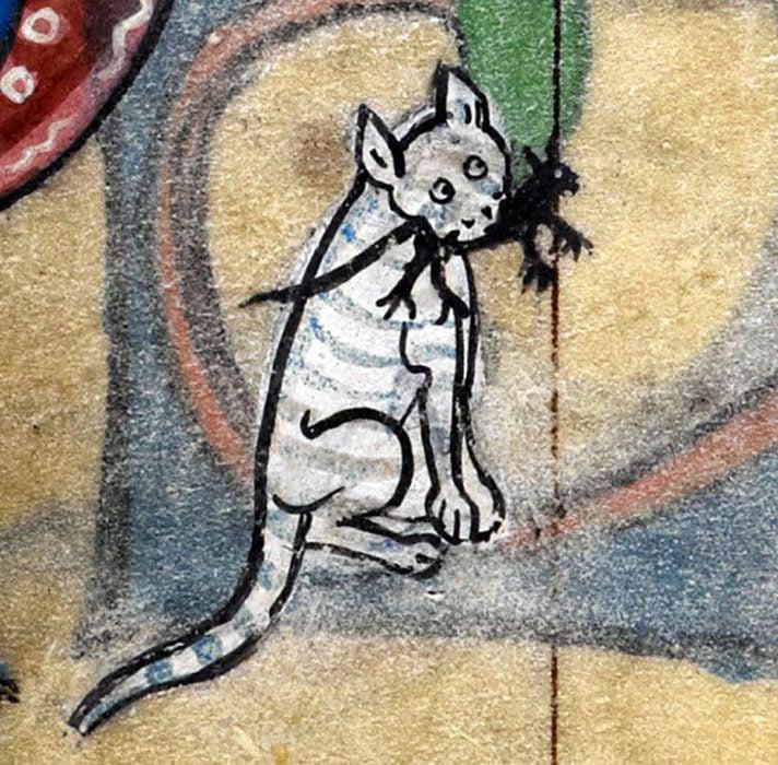 pintura medieval de gato con una presa