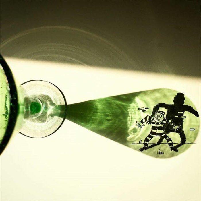 Ilusión de luces en una ilustración del reflejo de una copa