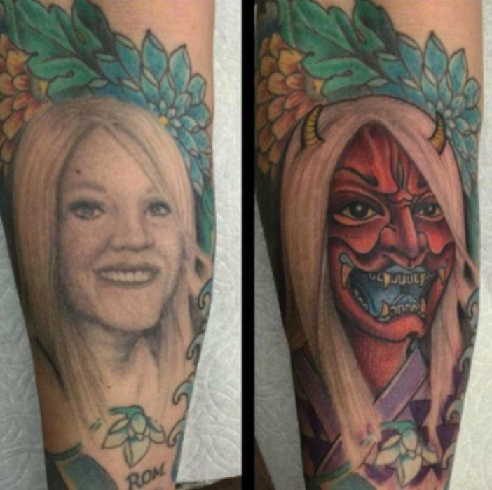 tatuaje de mujer convertido en tatuaje de demonio