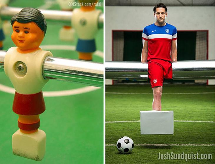 hombre con una pierna disfrazado de jugador de futbolito