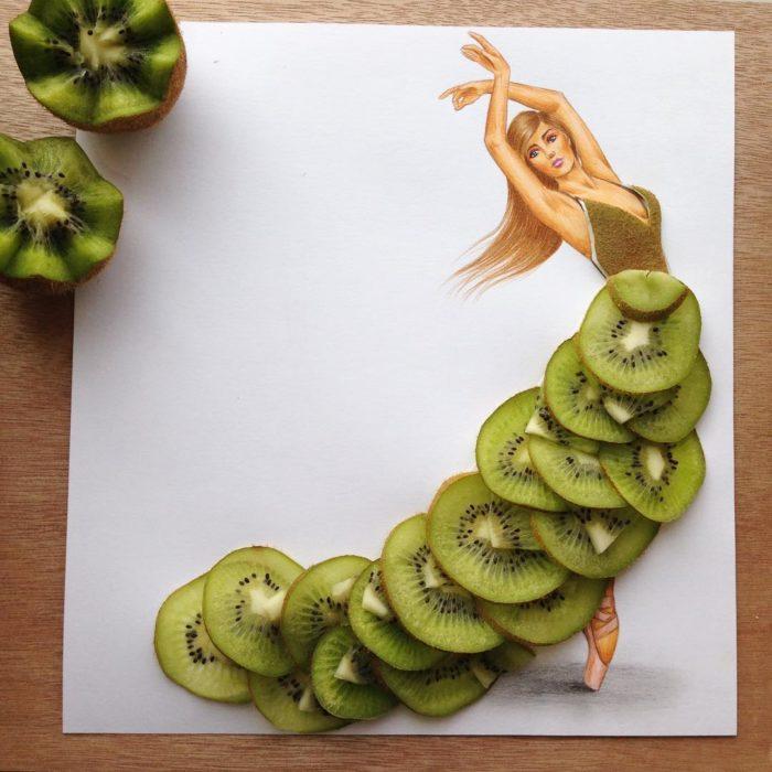 ilustración mujer con vestido hecho de kiwi