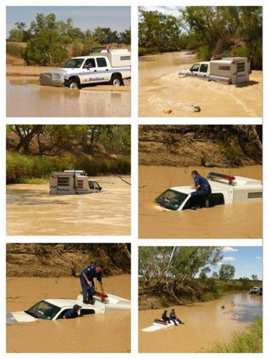 patrulla de policía inundada