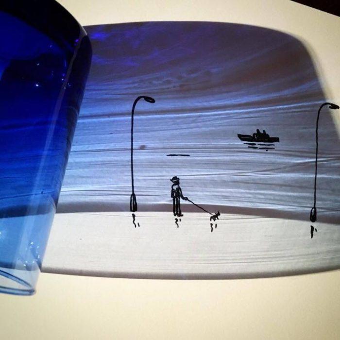 Ilustración de paisaje con las sombras de un vaso