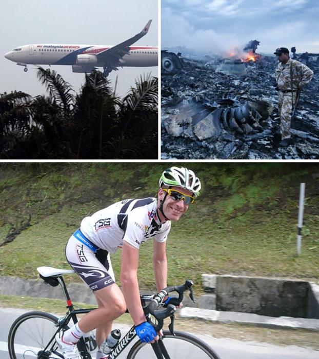 collage de fotos, arriba desastres de aviones, abajo un ciclista