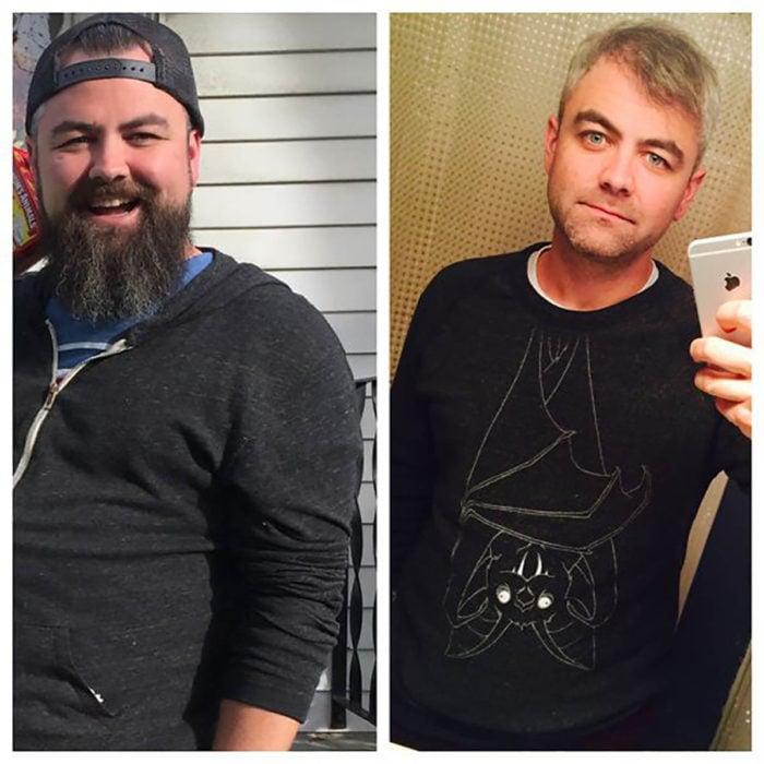 hombre con canas y sudadera negra antes y después de dejar de beber