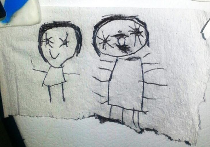 dibujo estilo película de miedo realizado por un niño