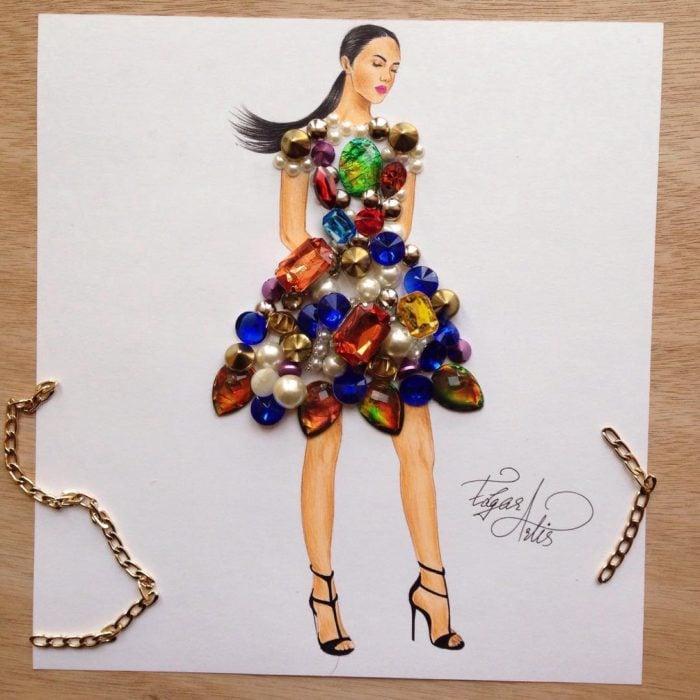 ilustración, mujer con vestido hecho de piedras de fantasía