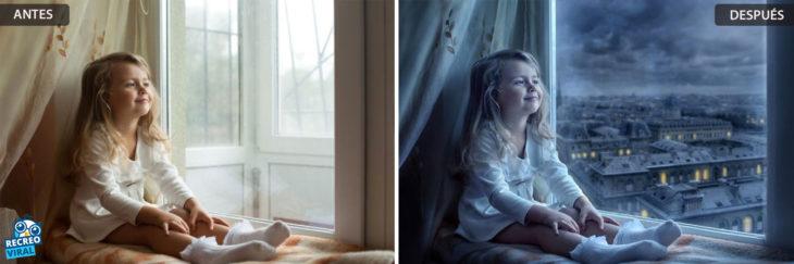 Magia de Photoshop - Niña mirando a la ventana