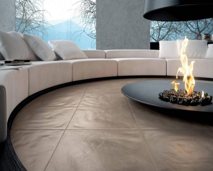 sillón circular y fogata para interiores