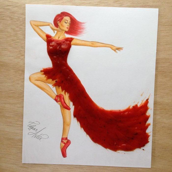 ilustración mujer con vestido hecho de jalea