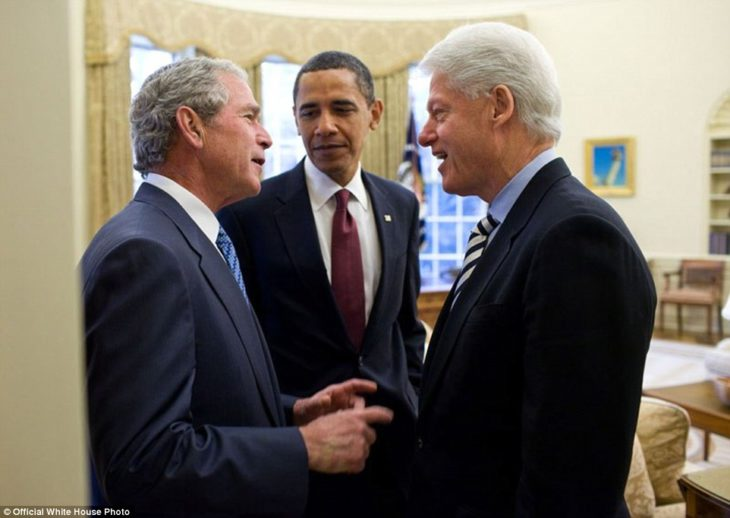 Obama con George Bush y Bill Clinton