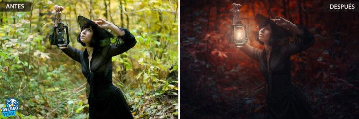 Magia de Photoshop - Mujer con vela y sombrero