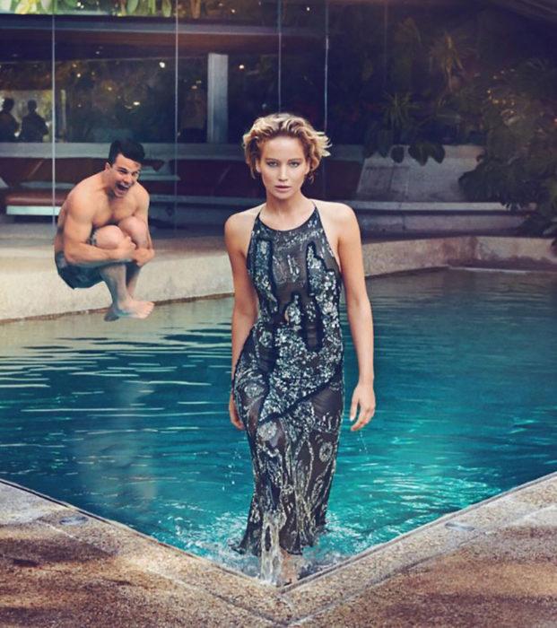 chico se edita al lado de jennifer lawrance en una piscina