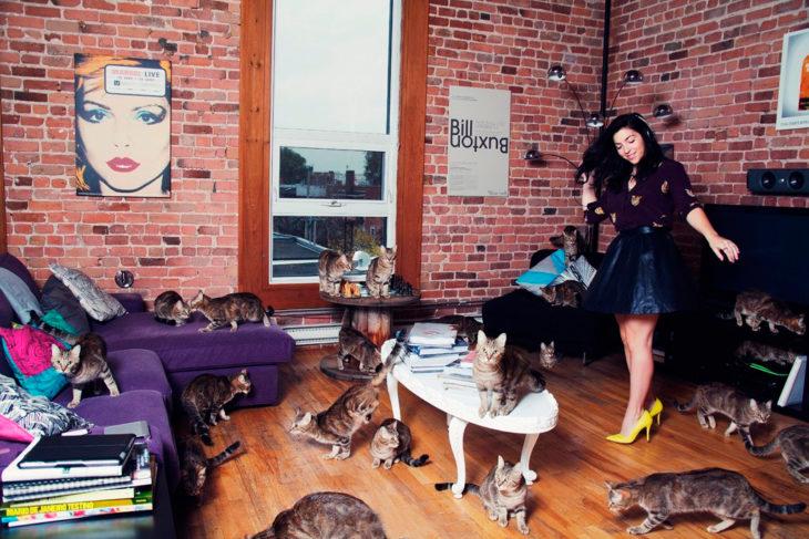 Joven en la sala de su casa junto a los gatos
