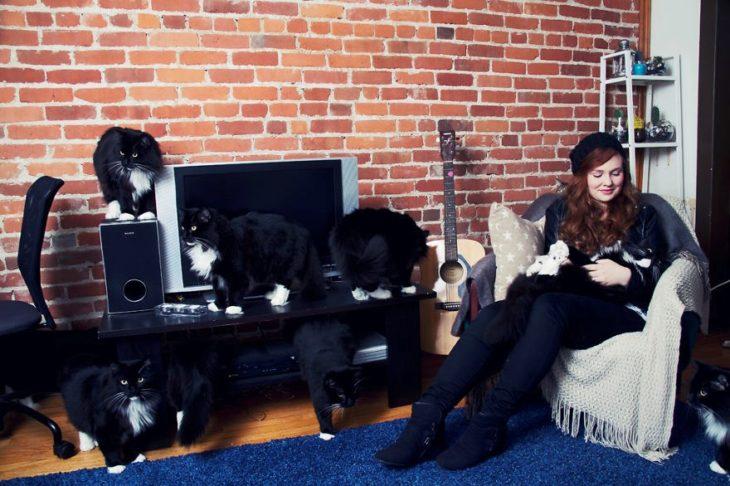 Joven mujer acompañada de muchos gatos