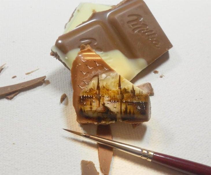 Arte en trozos de chocolate