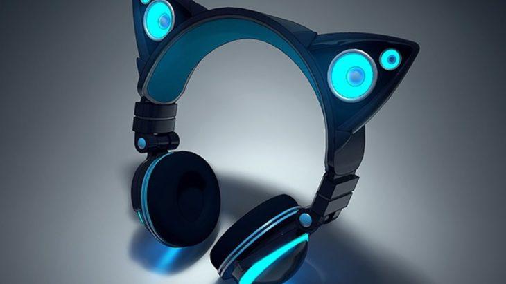 Audífonos con orejas de gato color azules