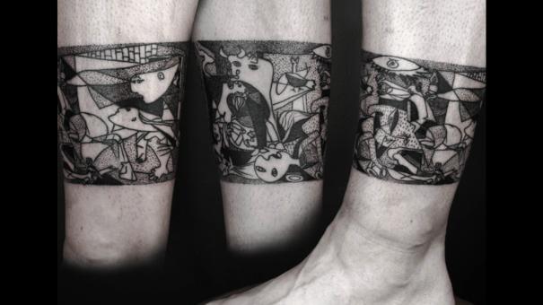 Tatuaje inspirado en Picasso - Mural en blanco y negro