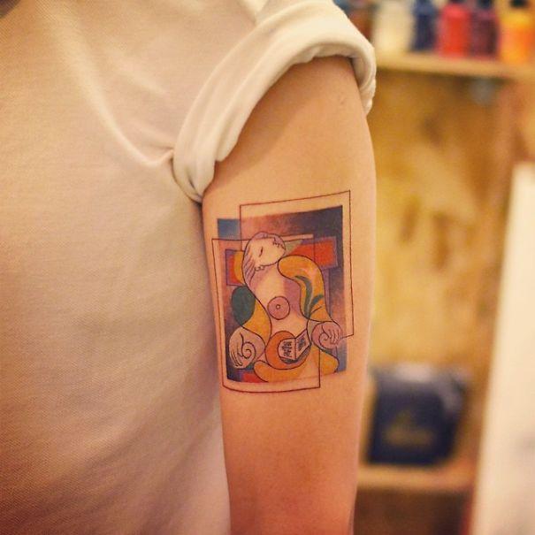 Tatuaje inspirado en Picasso - cubismo a color