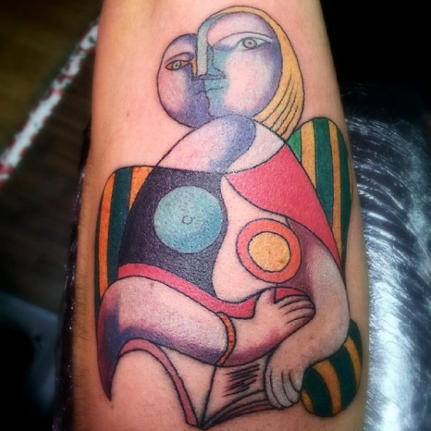 Tatuaje inspirado en Picasso - cubismo pintura Picasso