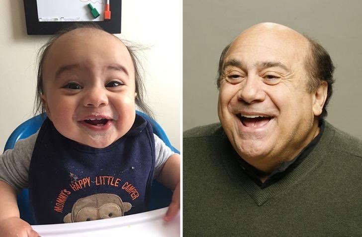 Foto de un bebé y del otro lado foto de Danny DeVito