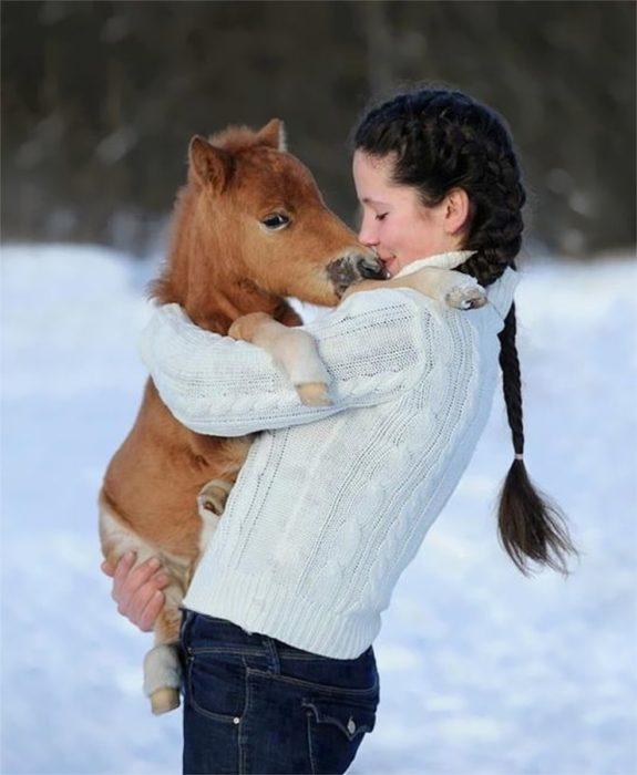 Una niña junto a su caballo miniatura